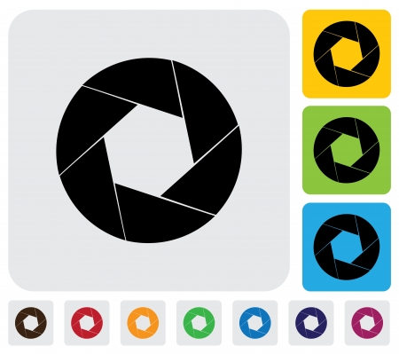 shutter aperture: camera lens shutter blades icon(symbol)- simple graphic. This illustration has the shutter icon on grey, green, orange and blue backgrounds & useful for websites, documents, printing, etc