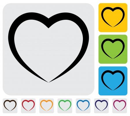 forme: coeur humain abstrait (l'amour) icône (symbole) - graphique simple. Cette illustration a l'icône de coeur sur le gris, fond vert, orange et bleu et utile pour les sites web, les documents, l'impression, etc