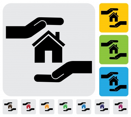 real estate sign: Hand protecting house(home)- simple graphic. This illustration represents concept of home insurance, safe real-estate transactions & business, safeguarding mortgage, property & asset protection