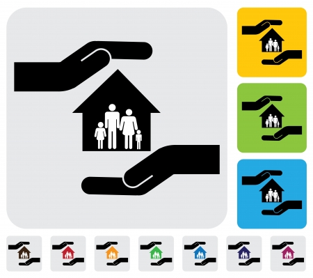 secure home: Hand protecting family & house(home)- simple graphic. This illustration represents concept of home, family members safety, safeguarding mortgage, property & asset protection Illustration