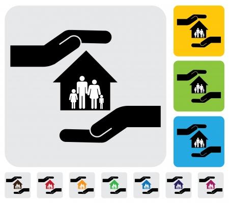 Main protectrice famille et maison (home) - graphique simple. Cette illustration représente le concept de la maison, les membres de la famille la sécurité, la protection hypothécaire, la propriété et la protection des actifs Banque d'images - 20612140