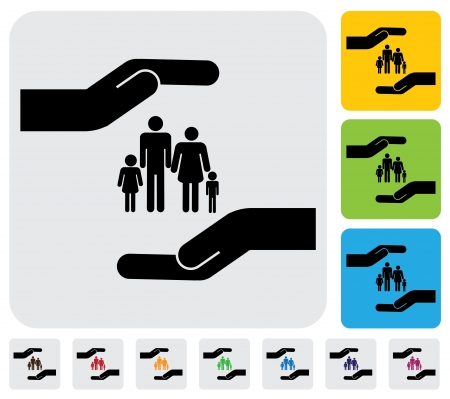 safe guard: Hand protecting family(parents and children)- simple  graphic. This illustration represents concept of safety of father, mother, son & daughter