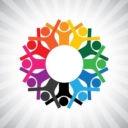 držení: Šťastné děti si hrají v kruhu drží se za ruce-jednoduché grafiky.