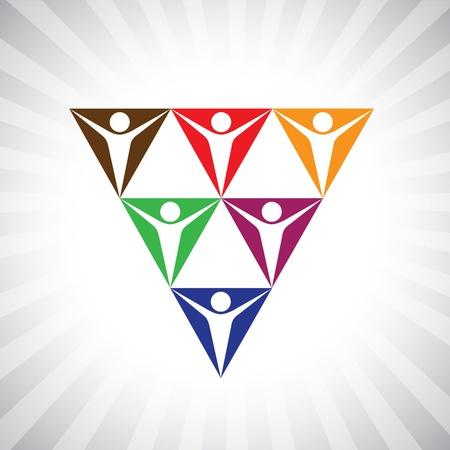 cooperativismo: personas de la comunidad de medios sociales como pirámide de red simple del gráfico. Esta ilustración también puede representar diversidad de los empleados, la gente apoyándonos unos a otros, los trabajadores unidos, la comunidad las personas, etc Vectores