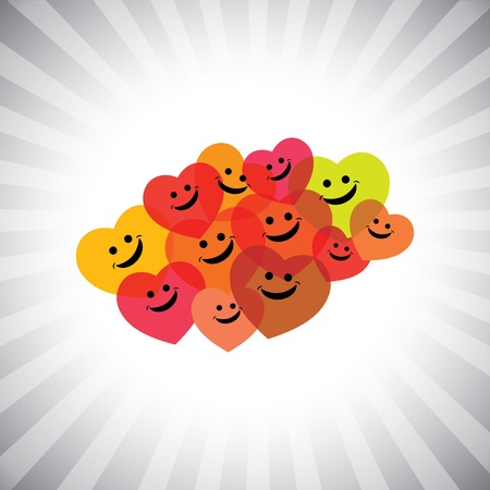 happy employees: colorful happy smiling kids as hearts- simple graphic. This illustration can also represent play school being merry & having fun, school kids play time, happy people laughing in joy, etc
