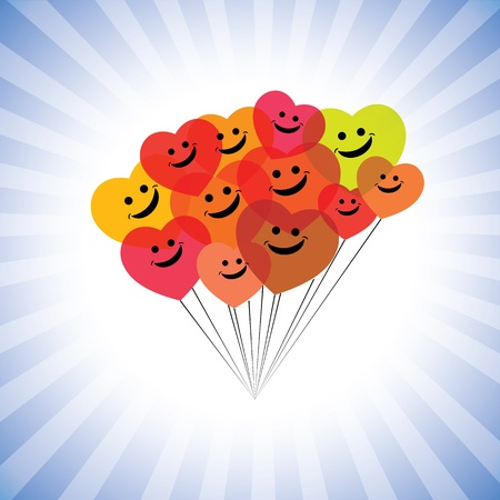 happy employees: happy kids faces(hearts) as flying kites- simple graphic. This illustration can also represent play school children being merry & having fun, school kids play time, happy people laughing, etc