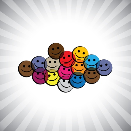 colorful happy smiling kids(children) faces- simple graphic. This illustration can also represent play school being merry & having fun, school kids play time, happy people laughing in joy, etc