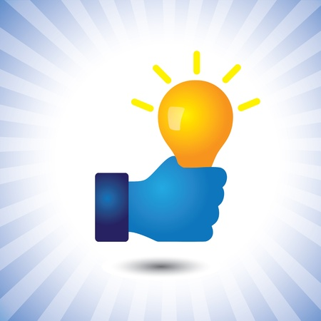 ingenuity: creative, smart & intelligent person with idea(bulb)- graphic. The illustration can also represent concept of clever person with ability to solve problems, genius with bag of business ideas