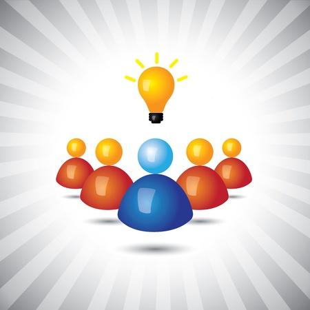 followers: dirigente di successo o dipendente con le idee-grafica semplice. Questa illustrazione pu� anche rappresentare manager e il suo staff, leader e seguaci politici o commerciali, vincendo dirigente o persona