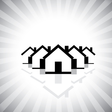 residential market: residential real estate or property market icon(symbol) of houses. This graphic can also represent construction industry, realty business of buying and selling property, etc Illustration