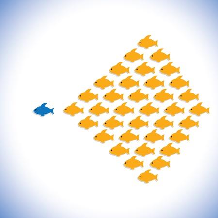 リーダーとフォロワーやオフィス マネージャー従業員グラフィック。図は、また、起業家やビジネスマン起業、大胆かつ自信を持ってオフィスのス