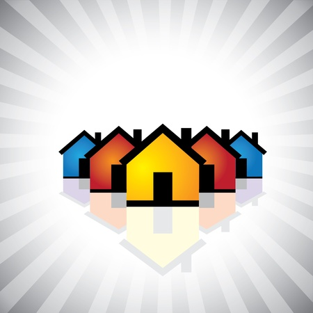 realty residence: colorful houses(homes) or real estate icon(symbol)- graphic. This illustration can also represent construction industry, realty business of buying and selling property, etc