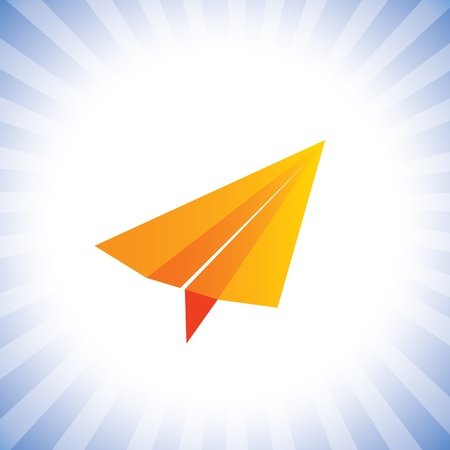 accomplishing: orange color paper plane flying high- concept graphic. This illustration can also represent achieving dreams, getting free from problems, accomplishing success, financial freedom, reaching goal Illustration