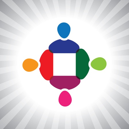 kids having fun: colorful company executives team meeting- simple graphic. This illustration can also represent children playing, kids having fun, employee meeting, workers unity & diversity, abstract people