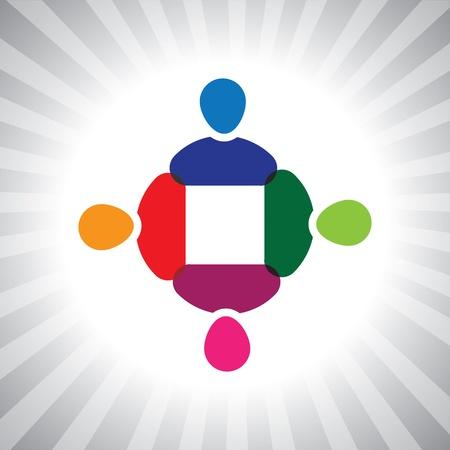 ni�os divirtiendose: Ejecutivos de la compa��a colorido equipo de reuni�n-gr�fico simple. Esta ilustraci�n tambi�n puede representar a los ni�os que juegan, los ni�os se divierten, reuni�n de empleados, trabajadores de la unidad y la diversidad, personas abstractas