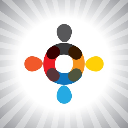 cooperativismo: los coloridos abstractos unidos gráfico juntos-simple. Esta ilustración también puede representar a los niños que juegan, los niños se divierten, reunión de empleados, trabajadores de la unidad y la diversidad, personas abstractas