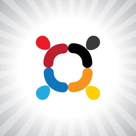 ni�os divirtiendose: empleados coloridos abstractos gr�fico de encuentro simple. Esta ilustraci�n tambi�n puede representar a los ni�os que juegan, los ni�os se divierten, reuni�n de empleados, trabajadores de la unidad y la diversidad, personas abstractas Vectores