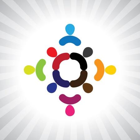 ni�os divirtiendose: ni�os coloridos abstractos que juegan en gr�fico de c�rculo simple. Esta ilustraci�n tambi�n puede representar a los ni�os que juegan, los ni�os se divierten, reuni�n de empleados, trabajadores de la unidad y la diversidad, personas abstractas