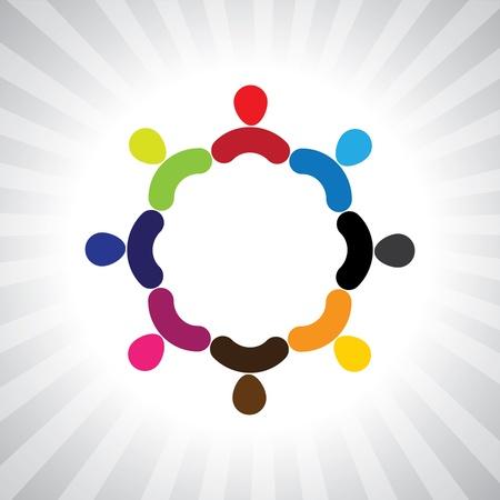 다채로운 원형 간단한 그래픽으로 사람들의 커뮤니티입니다. 이 그림은 또한 재생하는 어린이를 나타낼 수 있습니다, 재미, 직원 회의, 직원 화합 및