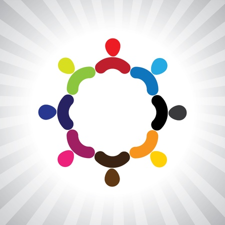 colorful community of people as a circle- simple graphic. This illustration can also represent children playing, kids having fun, employee meeting, workers unity & diversity, abstract people Иллюстрация