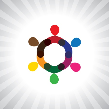 simplistic icon: colorful people together as wheel or circle- simple graphic. This illustration can also represent children playing, kids having fun, employee meeting, workers unity & diversity, abstract people