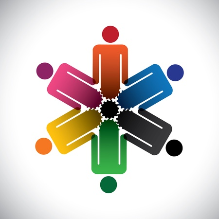 interdependent: colorful abstract people community as cog wheels- simple graphic. This illustration can also represent social media concept of interdependent community of people working together    Illustration
