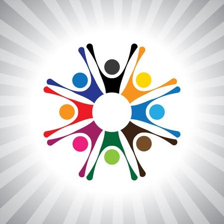 cooperativismo: la gente del partido para reunirse para celebrar un buen gráfico de tiempo simple. Esta ilustración también puede representar a los niños jugando, los niños se divierten, gente entusiasmada, personas animados, humor festivo, celebraciones Vectores