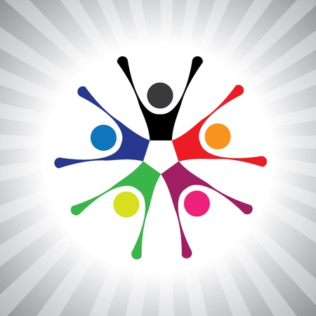 cooperativismo: amigos de tertulia y gráfica que celebra la amistad-simple. Esta ilustración también puede representar a los niños jugando, los niños se divierten, gente entusiasmada, colorido vibrante comunidad