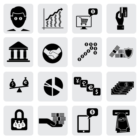 bank & money icons(signs) related to  wealth,assets- vector graphic. This illustration can also represent savings account,investments,wealth creation,banking business,saving money(cash),credit cards Vector