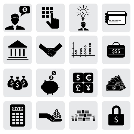 banker: bank & finance icons(signs) related to money, wealth- vector graphic. This illustration can also represent savings account,investments,wealth creation,banking business,saving money(cash),credit cards