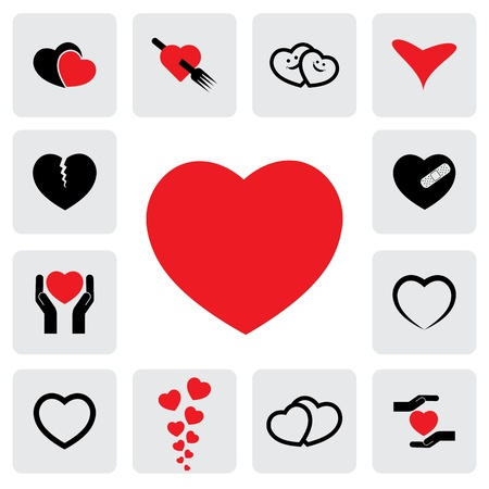 breakup: abstract heart icons(signs) for healing, love, happiness- vector graphic. This illustration represents concepts of passion, platonic love, break-up, healing & protection of hearts health, prevention