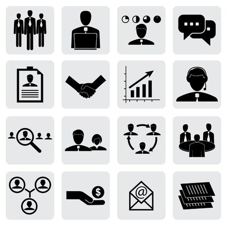 icônes de bureau (signes) de personnes et concepts pour l'entreprise graphique vecteur. Cette illustration peut également représenter les employés et gestionnaires, recevant un salaire, l'embauche de cadres, poignée de main, les personnes travaillant, en parlant