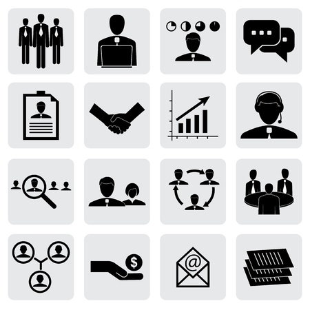 salaries: office icons(signs) of people & concepts for business- vector graphic. This illustration can also represent employees & manager, receiving salary, hiring executives, handshake, people working, talking Illustration