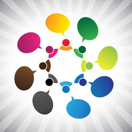 people in social network talking or chatting- vector graphic. This illustration can also represent group discussion, employee meetings, interaction in schools among children & kids, people expresssing