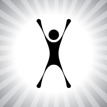delighted: person jumping with joy after winning a challenge- simple vector graphic. This illustration can also represent winner of a competition, excited individual, thrilled person, super achievement, etc