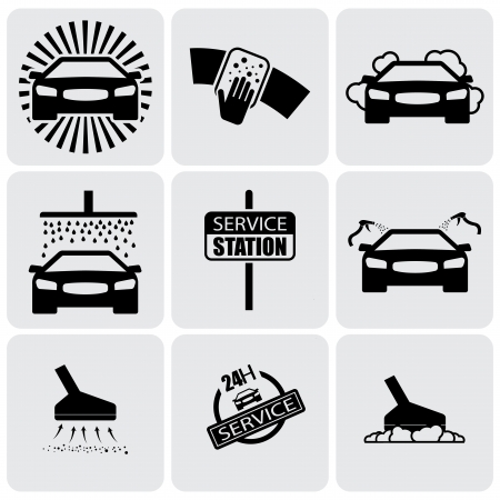 car cleaning: car wash icons(signs) set of cleaning car- vector graphic. This illustration represents nine symbols of washing and cleaning in a 24 hour service station