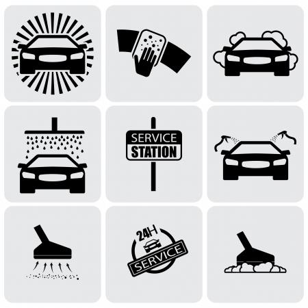 cleaning car: Iconos de lavado de autom�viles (signos) Juego de limpieza gr�fico auto-vector. Esta ilustraci�n representa a nueve s�mbolos de lavado y limpieza en una estaci�n de servicio de 24 horas