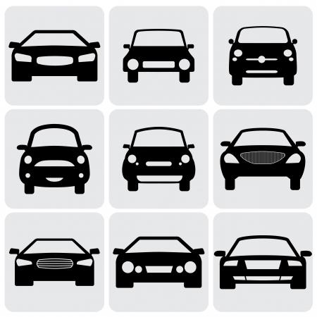 コンパクトで高級乗用車車 icons(signs) フロント ビュー ベクトル グラフィック。次の図は白い背景の黒い色の車のフロント サイドの 9 記号
