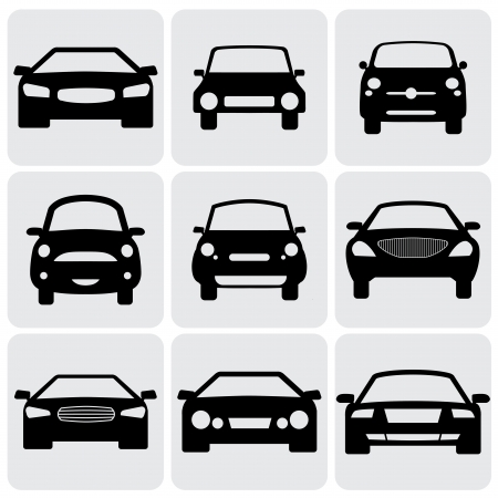 front side: compact and luxury passenger car  icons(signs) front view- vector graphic. This illustration represents nine symbols of cars front side in black color against white background