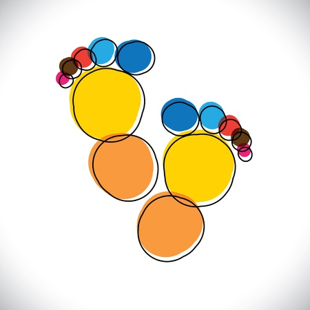 Abstract colorful pair of people's footprint- vector graphic. This illustration can be representative of childhood days of the kid(or baby), or people foot mark or artistic(or creative) person Vector