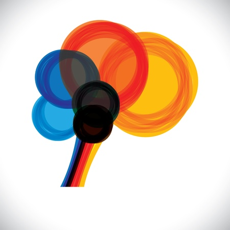 abstract colorful human brain icon or sign- simple graphic. This illustration represents a persons mind as colorful rings or circles of thought, intelligence, creativity, learning, etc Illustration