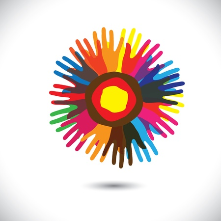brotherhood: Colorful hand icons as petals of flower  happy community concept  This graphic illustration represents people team standing united, community unity, people helping, universal brotherhood, etc