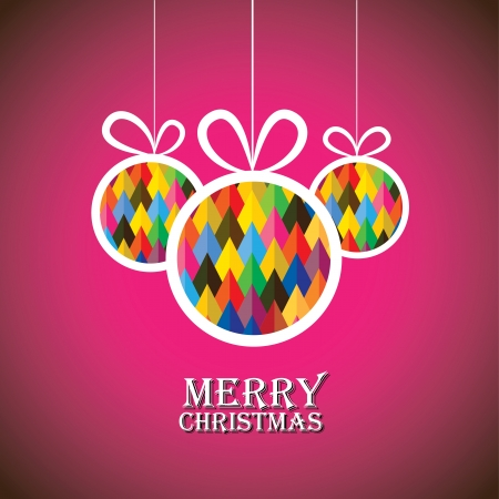 christmastide: Abstract christmas bauble balls on pink background- vector graphic. This illustration shows three hanging balls decorated on xmas(feliz navidad) eve Illustration