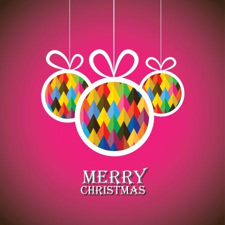 feliz: Abstract christmas bauble balls on pink background- vector graphic. This illustration shows three hanging balls decorated on xmas(feliz navidad) eve Illustration