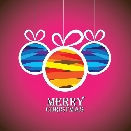 natale: Abstract colorful xmas bauble balls on pink background- vector graphic. This illustration shows three hanging balls decorated on xmas(feliz navidad) eve Illustration