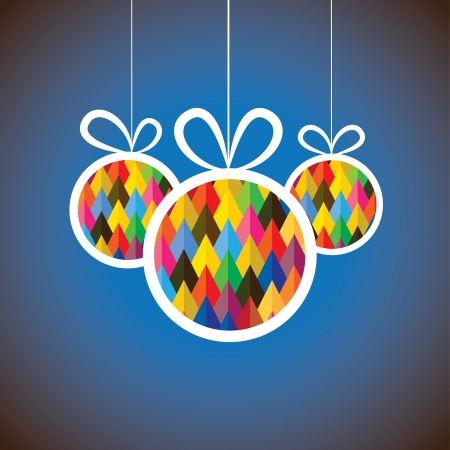 Beautiful abstract colorful Christmas balls- vector graphic. This illustration shows three hanging balls decorated on xmas(navidad) eve on blue background  Vettoriali