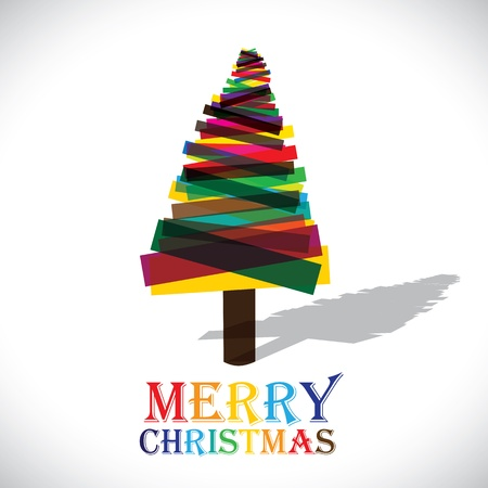 Abstract colorful xmas tree on white background- vector graphic. This illustration shows christmas tree made of transparent paper in various colors with colorful text merry christmas