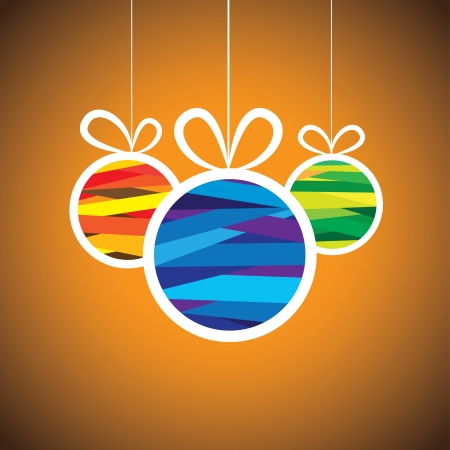christmastide: Colorful xmas bauble balls on orange background- vector graphic. This illustration shows three hanging balls decorated on christmas(feliz navidad) eve on orange background  Illustration