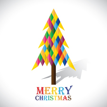 Colorful xmas tree made with origami papers in diamond shape- vector graphic. This illustration shows abstract christmas tree made of paper with colorful text merry christmas Ilustração