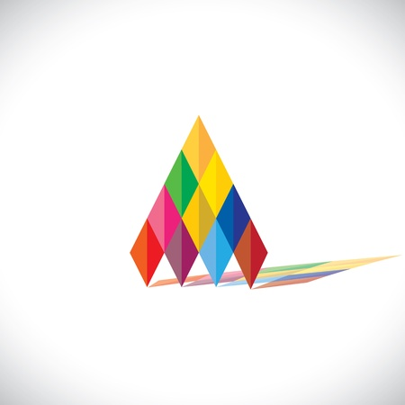 Colorful abstract icon(sign) of pyramid(triangle) shape- vector graphic. This illustration shows abstract geometric triangular shape formed using diamond shaped papers in origami style Stock Vector - 21693086